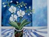 Orchid and Blue Striped Fabric